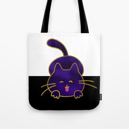 Cute Happy Purple Stained Glass Cat Tote Bag