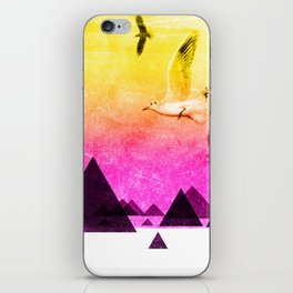 seagulls in shiny sky iPhone Skin