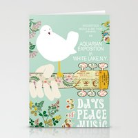 woodstock Stationery Cards featuring Woodstock Birdie Collage Print by Claudia Schoen