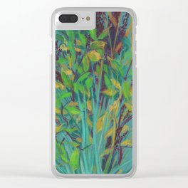 Autumn bouquet on teal background Clear iPhone Case