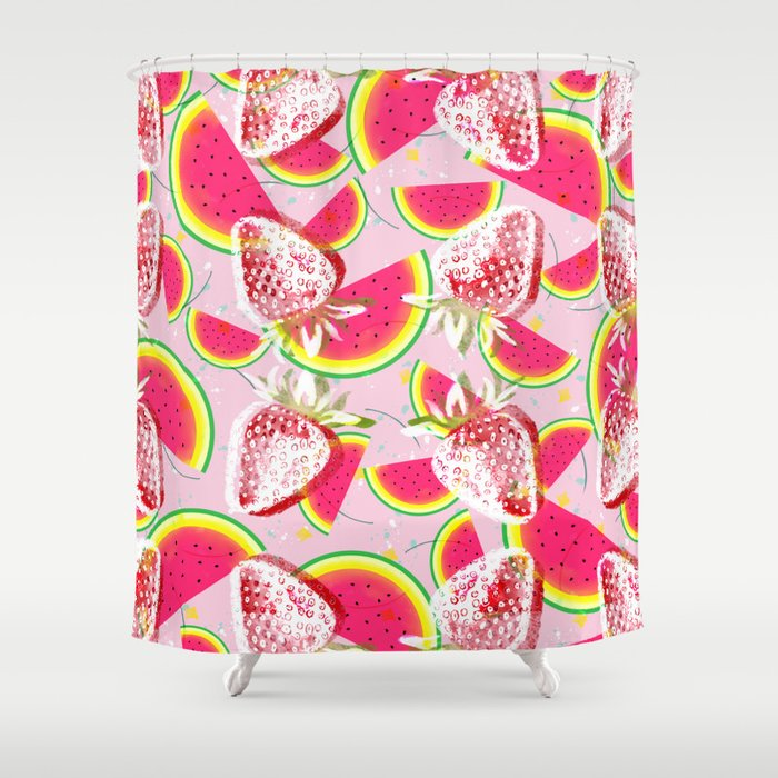 Strawberries Melon Fiesta Pattern Shower Curtain