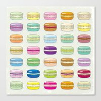 macaroon Canvas Prints featuring Colorful macaroon set by MiartDesignCreation