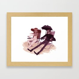 Hades and Persephone at the beach Framed Art Print