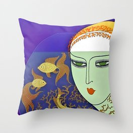 "Art Deco Illustration ""Goldfish Bowl"" Throw Pillow"