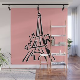 Pink Eiffle Tower Wall Mural