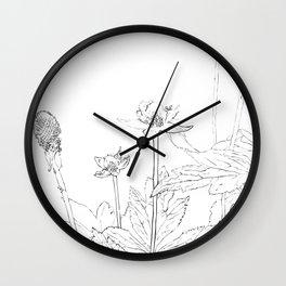 Unknown Flora I line art Wall Clock