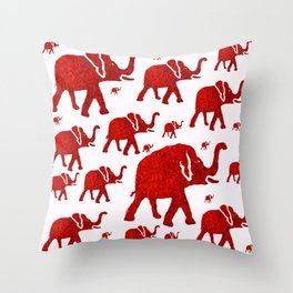 ELEPHANT Red #1 Throw Pillow