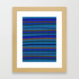 Denim Stripes in Blue, Tan, Cyan & Chocolate Framed Art Print