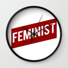 FEMINIST RED WHITE BANNER Wall Clock