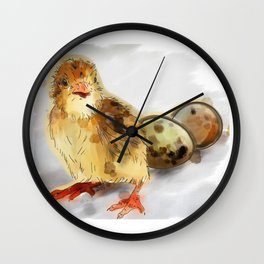 Chick with eggs Wall Clock