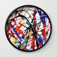percy jackson Wall Clocks featuring Jackson  by Ink and Paint Studio