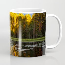 Yellow Pine Trees Forest With Reflective Pond Coffee Mug
