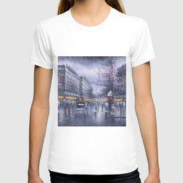 City of Lights, Eiffel Tower, Twilight Paris, France Street Scene landscape painting T-shirt