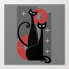Modern Meows Atomic Age Black Kitschy Cats Canvas Print