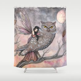 Friendship Fairy and Owl Autumn Fantasy Art by Molly Harrison Shower Curtain