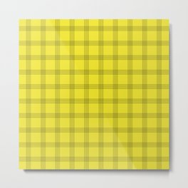 Black Grid on Yellow Metal Print