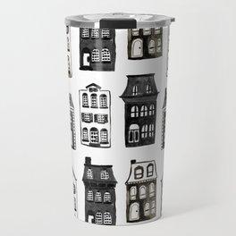 Mansard Mansions in Black + White Watercolor Travel Mug
