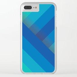 Stripes (blue/aqua) Clear iPhone Case
