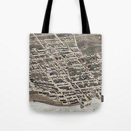 Vintage Pictorial Map of Newburgh New York (1875) Tote Bag