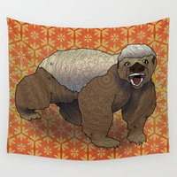 badger Wall Tapestries featuring Honey Badger by Dusty Goods