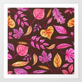 Fall Leaves on Brown Art Print