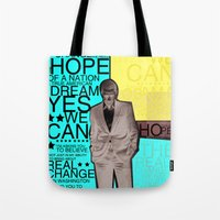obama Tote Bags featuring Barack Obama by kaseysmithcs
