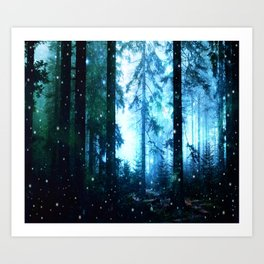 Fireflies Night Forest Art Print