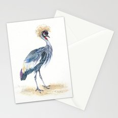 Grey Crowned Crane Bird Stationery Cards