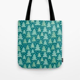 Winter design with mosaic forest in the snow Tote Bag