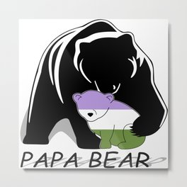 Papa Bear Genderqueer Metal Print