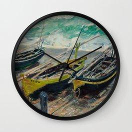 Three Fishing Boats Wall Clock