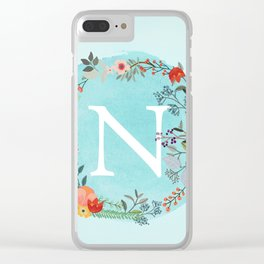 Personalized Monogram Initial Letter N Blue Watercolor Flower Wreath Artwork Clear iPhone Case