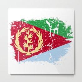 Distressed Eritrea Flag Graffiti Metal Print