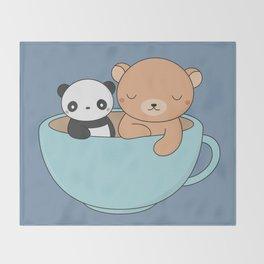 Kawaii Cute Brown Bear and Panda Throw Blanket