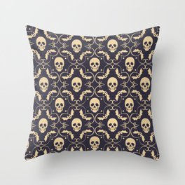 Happy halloween skull pattern Throw Pillow