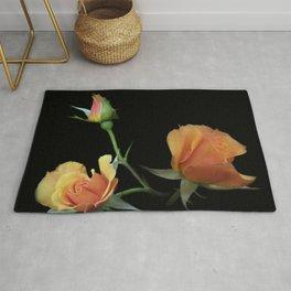 flowers on black - 3 orange rosebuds Rug