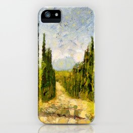 Rural landscape with cypresses iPhone Case