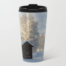 Snowy cabins and light in the trees Travel Mug