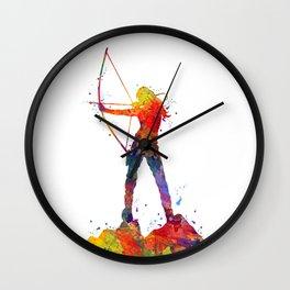 Archery Girl Colorful Watercolor Artwork Wall Clock