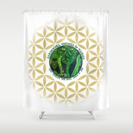 Gnome Fairy Golden Flower of Life Shower Curtain