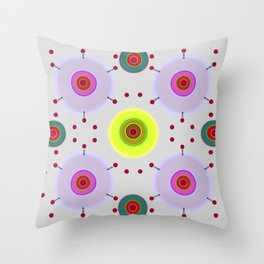 Colored discs with dots Throw Pillow