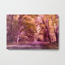 Redreaming Deep Dreamed The Forest Road Metal Print