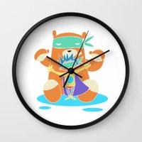 super hero Wall Clocks featuring Super Hero 4 by La Lanterne