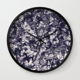 Indigo butterfly photograph duo tone blue and cream Wall Clock