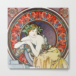 "Alphonse Mucha ""Girl With Easel"" Metal Print"