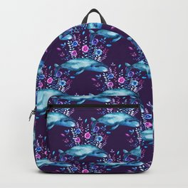 Floral Whales pattern 2 Backpack