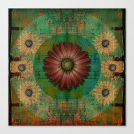 """Daisy Woman (Red Daisy, pattern)"" Canvas Print"