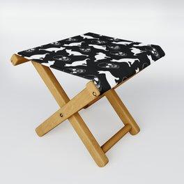 Skulls, Cats, Black and White, Pattern Folding Stool