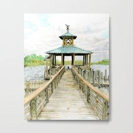 Dock on Mobile Bay Metal Print