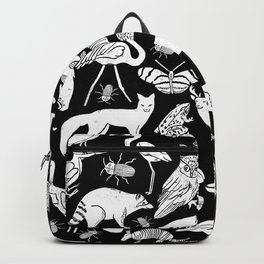 Linocut animals nature inspired printmaking black and white pattern nursery kids decor Backpack